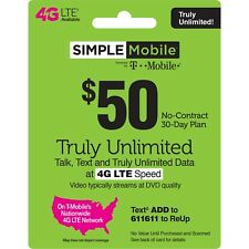 SIMPLE MOBILE  Prepaid $50 Refill Top-Up Prepaid Card ,PIN / RECHARGE