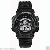 Waterproof Mens Boys Digital LED Quartz Alarm Date Sports Wrist Watch Black