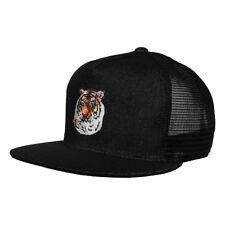 Tiger Trucker Hat by LET'S BE IRIE - Black Denim