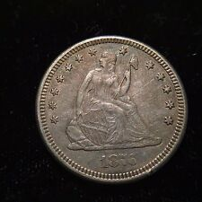 1876 P Seated Liberty Quarter Dollar AU/UNC About Uncirculated 25c Rare Key Date