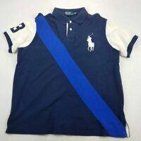 Polo By Ralph Lauren Mens Polo Shirt Blue Cotton Short Sleeve Custom Fit Slit XL