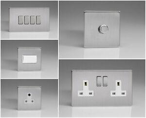 Varilight Screwless Brushed Steel Range - White Inserts & Steel Switches