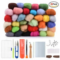 36 Colors Wool Roving Fibre🎁Felting Starting Needle Set 🎁Hand Craft DIY Tool