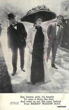 c1910 Suitors Merry Widow hat exaggeration Humor Grollman postcard 10117