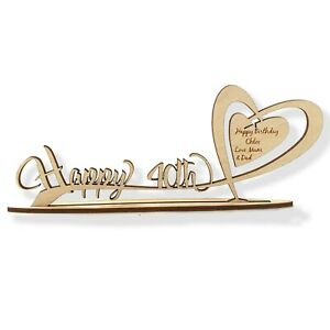 Personalised Wooden Freestanding Heart inc Age & Engraved Birthday Gift Message