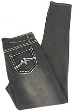 QUICK SILVER Womens Black JEANS Multi-Stitch Embroidered size 9/10