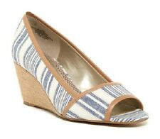 Easy Spirit Brigette wedge pump sandal Blue stripe nautical 6.5 WIDE New