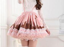 Cosplay Sweet Lolita Fantasy Punk Kawaii Cute Puffy Pink Suspender Skirt