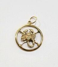 18k Yellow Gold Solid Scorpion Zodiac Sign Charm Pendant.
