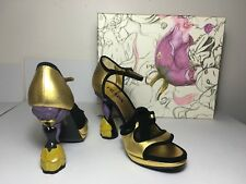 =MAGICAL= PRADA Metallic Gold Flower Fairytale Suede Bow Leather Heels US5.5