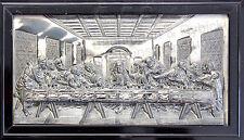 Das Abendmahl nach Da Vinci 24x12 cm um 1900 in Zinn mit Rahmen religiöse Kunst