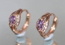 Created Marquise Amethyst & Diamond 1.3cm Rose Gold gf Hoops