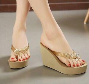 Ladies Flip Flops Sandals Slipper Summer Platform Wedge Heel Crystal Shoes Beach