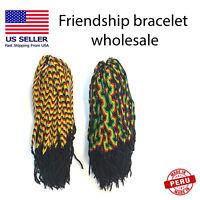 Rasta friendship bracelets wholesale lot handmade jewelry reggae jamaica 100 mix