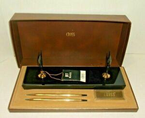 VTG Cross Pen/ Pencil 10K Gold Filled Elegant  Desk Set with Black Base -BOXED