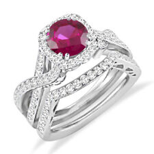 14k White Gold Over 925 Silver Round Red Ruby Engagement Ring Wedding Bridal Set