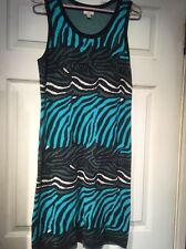 Banana Republic Issa Black turquoise zebra striped sweater knit dress Med