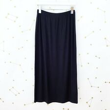 Comfy USA Simple Skirt Size Small S Solid Black Jersey Knit Maxi Elastic Waist