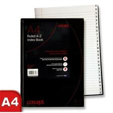 Concept A4 A-Z Tabbed Address Index Book Casebound Hardback Black Notebook