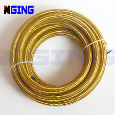 AN10 10-AN AN 10 Stainless Steel Braided Fuel Line Hose Oil Gas 5M/16.4FT Gold