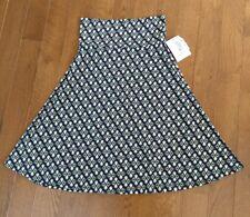 Ladies LulaRoe Azure Full Skirt Geometric Print Black Purple Green Sz S NWT