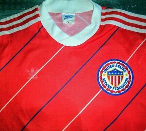 VTG US ADIDAS UNITED STATES USA MLS 1980s SOCCER JERSEY FOOTBALL SHIRT USMNT M