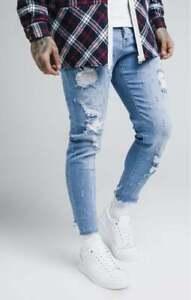 Sik Silk Mens Raw Cuff Stonewash Blue Designer Skinny Cropped Denims Jeans