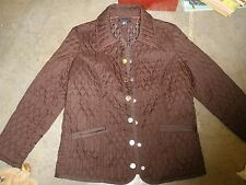 TOMMY HILFIGER ladies SIZE MED MINICORD JACKET QUILTED NYLON BROWN