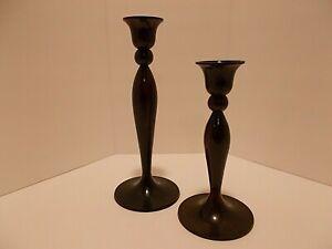 Dark Brown Bronze Look Tapered Candle Holders Heavy Metal - Set of 2