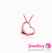 Rose Gold Plated Simple Open Heart Pendant Necklace Chain Womens Ladies Gift
