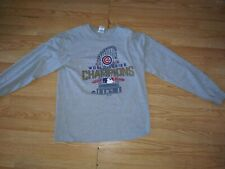 MAJESTIC CHICAGO CUBS 2016 WORLD SERIES CHAMPIONS LONG SLEEVE SHIRT L GRAY
