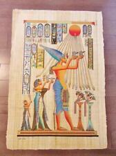 "XXL Huge Signed Handmade Papyrus Egyptian King Akhenaten Art Painting..38"" x 26"""
