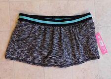 Anne Cole Locker Swim Skirt Bottoms Size Medium Black Gray  NEW