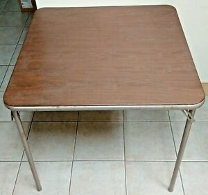 Vintage SAMSONITE Card Table Folding Metal Padded Top Retro 30x30 Working Legs