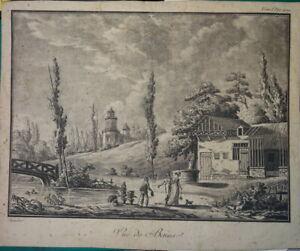 Charles NAUDET (1778-1810) BELLE GRAVURE AQUATEINTE PAYSAGE VUE BAINS HOMME 1800