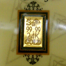 ACB 24K GOLD 5GRAIN SOLID BULLION MINTED BAR 99.99 FINE Au With COA +......,,,,,