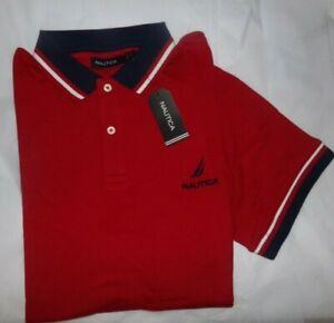 NWT MEN'S Nautica S/S Polo Shirt Shirt~RED~SZ MED