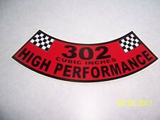 1- 302 Cubic Inches High Performance Air Cleaner Cover Sticker (NEW VINYL)