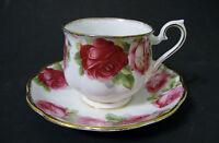 Royal Albert Old English Rose (Gold Trim) Tea Cup & Saucer Set -White/Pink Roses
