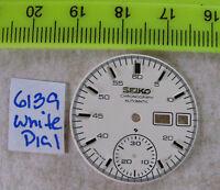 = Esfera Blanca/Esfera Fabricado para Seiko Cronógrafo 6139 Nuevo