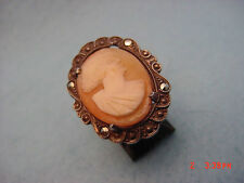 Vintage Sterling Shell Cameo & Marcasite Ring