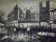 Moulin Rouge Parigi Olio Painting Tela Nero Bianco Francese Cityscape contemporaneo