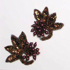 BRONZE FLOWER SEQUIN BEADED APPLIQUE PAIR 2114-A