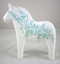 "NEW! Grannas A. Olsson 5"" (13cm) Kurbitz White & Blue Gray Dala Horse Swedish"