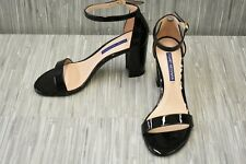 Stuart Weitzman NearlyNude Patent Leather Ankle Strap Sandals, Women's 6M, Black
