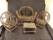 Woodsy miniature furniture pieces hand crafted sofa 2 chairs 1 table dolls art