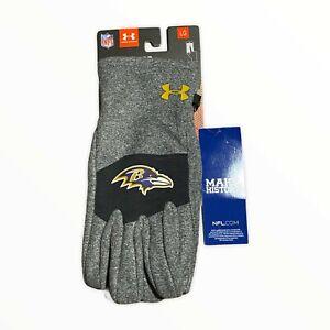 Under Armour Baltimore Raven Gloves Mens L NFL ColdGear Infrared Fleece texting