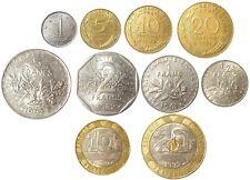 France Set 10 coins 1/20 Cmes 1/2-1-2-5-10-20 Francs 1960-2001 (mixed dates)