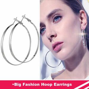 Big Large Womens Hoop Earrings Silver Earings Jewelry Round Circle Earrings 2 in