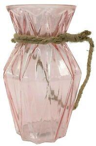 23cm Cristal Rosa Transparente Angular Geométrico Decorativo Flores Con Cuerda